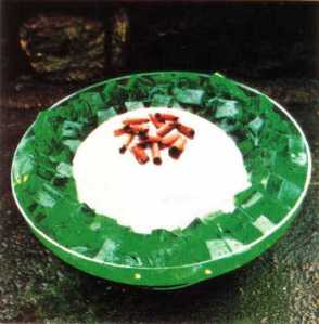 a bowl of cube gelatin with a creamy center mound
