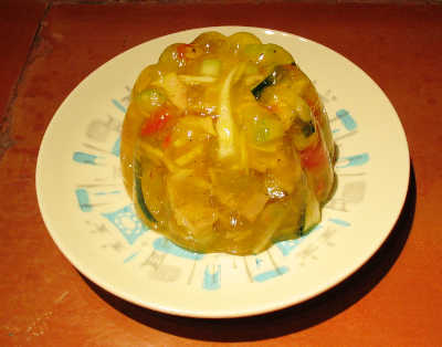 tuna and vegetables suspended in lemon Jell-O
