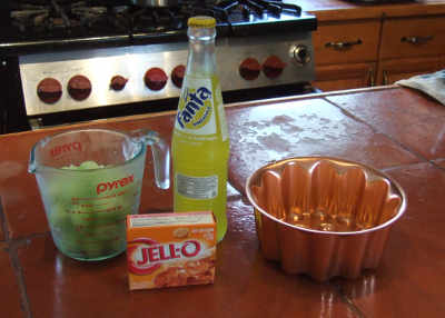 honeydew balls, Fanta pina, orange Jell-O, mold at the ready