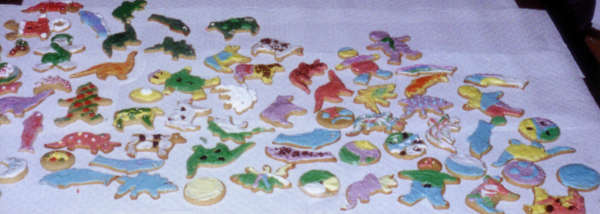 an array of weirdly decorated cookies
