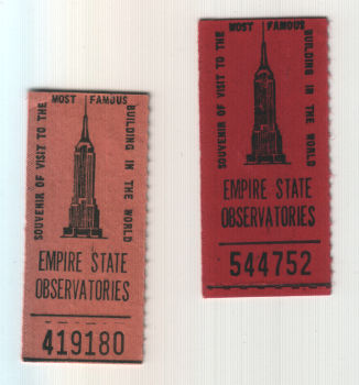 two receipts of tickets to the Empire State Building observatory deck