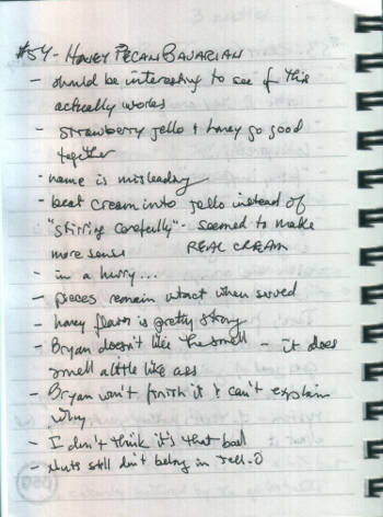 my handwritten notes on making Honey Pecan Bavarian