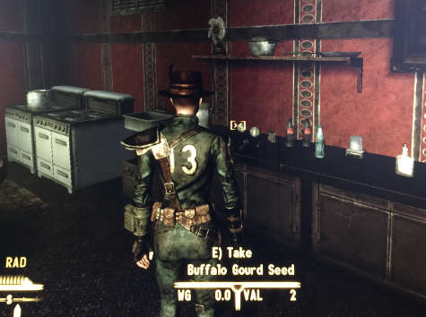 my character in Fallout: New Vegas examines the contents of the kitchen in the Presidential Suite in the Lucky 38