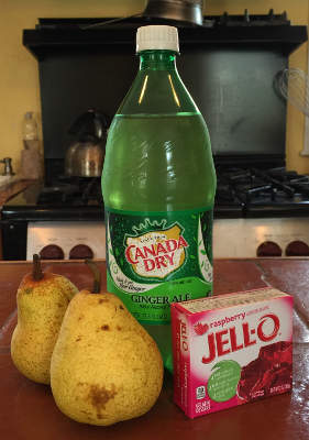 two whole pears, a bottle of ginger ale, a 3-oz package of raspberry Jell-O