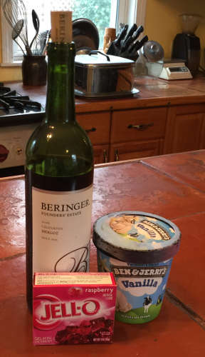 a bottle of merlot, a box of raspberry Jell-O, and a pint of Ben & Jerry's vanilla
