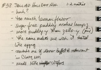half a page of handwritten notes about Jellied Holiday Nog
