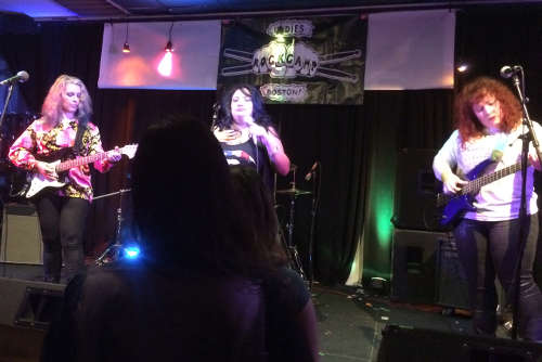 me, Sonya, and Maura on bass; behind Sonya, awesome drummer Julie