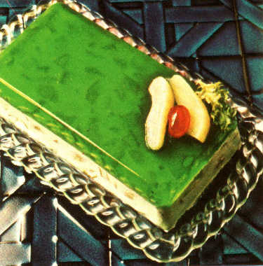 photo from book, loaf-shaped two-layer lime gelatin mold