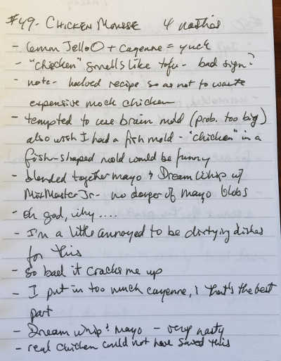 page of handwritten notes
