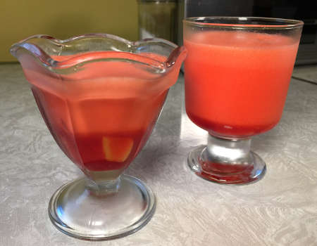 two small dessert glasses of Fruit Delight