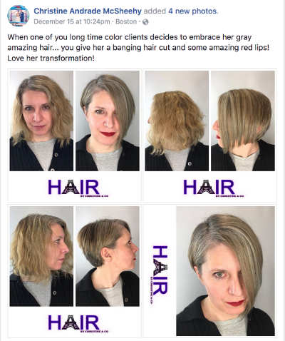 before-and-after photos from my last hair salon visit, showing the beginning of the transition from blonde to gray